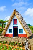 Old Traditional House In Santana, Madeira Island, Portugal. Wooden, Small, Triangular And Colorful H poster