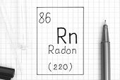 The Periodic Table Of Elements. Handwriting Chemical Element Radon Rn With Black Pen, Test Tube And  poster