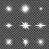 White Shine Flare Light, Sun Or Star. Flash Effect, Lens Flare, Sunlight Ray With Lightning On Trans poster