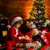 Childhood Activity And Game. Christmas Attributes. Family Holiday. Childhood Memories. Santa Boy Cel poster