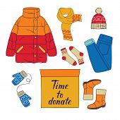 Color Vector Flat Style Illustration Of Female Warm Clothes And Carton Boxes Full Of Stuff. Winter C poster