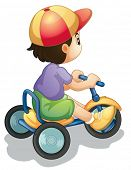 Illustration of a child riding a bicycle on white