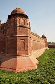 The Massive Walls Of The Red Fort In Delhi, India