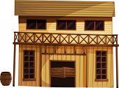 Abbildung von einem isolierten Gebäude aus dem wilden Westen