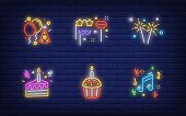 Christmas Party In Neon Style Collection. Glowing Neon Cake, Bengal Light. Holiday, Celebration, Pre poster