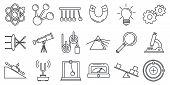 Physics Science Icons Set. Outline Set Of Physics Science Vector Icons For Web Design Isolated On Wh poster