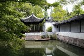 Pond and pavilion in the Garden of Humble Administrator, Suzhou, China