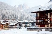 Italian ski resort with Dolomites in background
