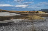 Colorful Rhyolit Mountain Panorma With Snow Fiields And Multicolored Volcanos In Landmannalaugar Are poster