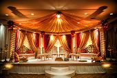 stock photo of indian wedding  - Image of a colorful Indian wedding mandap - JPG