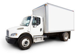 image of moving van  - Plain white delivery truck with sides ready for custom text and logos - JPG