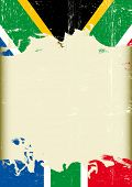 Grunge south Africa flag. A poster with a large scratched frame and a grunge south Africa flag for your publicity.