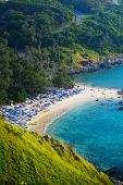 Tropical sandy beach and calm lagoon with clear blue water. Ya Nui beach, Phuket, Thailand