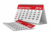 2014 year calendar. September. Isolated 3D image