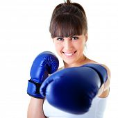sport young woman happy smiling in boxing gloves, face of fitness girl studio shot over white backgr