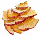 Slice Dried Apple fruit isolated on white