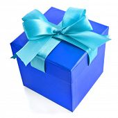 single gift wrapped present box with blue -aqua satin bow isolated on white