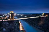 stock photo of suspension  - Clifton Suspension Bridge at night  - JPG