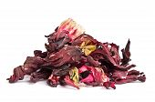 Dried hibiscus leaves on a white background