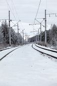 Empty Electric Mainline Railway In Winter Woods