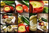 Vegetables soup, photo collage, in a casserole with ingredients and croutons