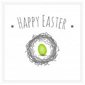 Easter card, bird nest and egg vector graphic design element