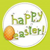 Easter badge for kids, with little peeper chicks hatched and egg, vector illustration