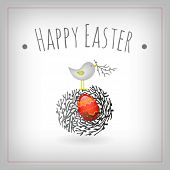 Easter card, bird nest and egg vector graphic design