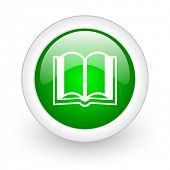 book green circle glossy web icon on white background