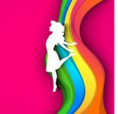 Happy Women's Day greeting card or background with a white silhouette of a happy girl on colorful wa