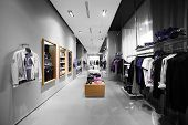 image of department store  - interior of brand new fashion clothes store - JPG