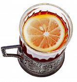 Top View Of Black Tea With Lemon