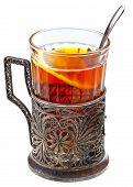 Black Tea With Lemon In Retro Glass