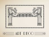 Vector art deco ornamental border with peacock