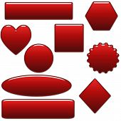 Glass Red Blank Website Buttons
