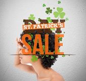 image of st patty  - Text advertisement for st patricks day sale with girl looking into distance - JPG