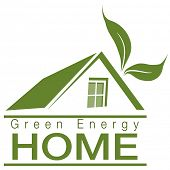 An image of a green energy home icon.
