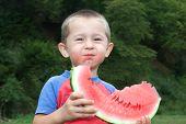 Jolly Boy Eating Greedily Tasty Watermelon.