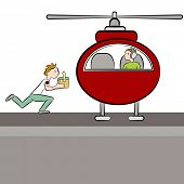 An image of a doctor deliverying an patient's organ to a helicopter.