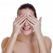 Laughing Woman Covering Her Eyes, Close Up Of A Womans Laughing Mouth And Teeth With Her Hands Cover