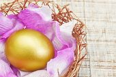 Golden Egg In A Nest With Purple Petals.