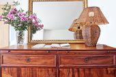 Antique Bedside Table And Luminous Shade.