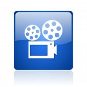cinema blue square glossy web icon on white background