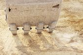 stock photo of bulldozer  - Teeth on a bulldozer scoop stop work - JPG