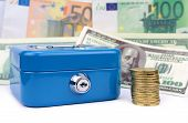Blue Cash Box, Coins And Banknotes Background