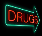 stock photo of opiate  - Illustration depicting a neon sign with a drugs concept - JPG