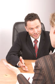 picture of business meetings  - white business man and woman  talking  - JPG