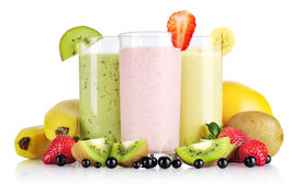 stock photo of fruit shake  - Fruit smoothies with black currant strawberry kiwi orange and banana isolated on white background - JPG