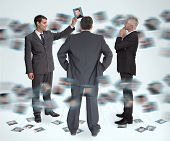 Stylish businessmen working together holding profile picture