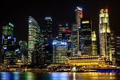 Singapore's Business District at Night